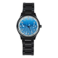 Water Bubble Blue Foam Stainless Steel Round Watch by Mariart