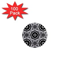 Geometric Black And White 1  Mini Magnets (100 Pack)  by linceazul