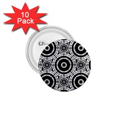 Geometric Black And White 1 75  Buttons (10 Pack) by linceazul