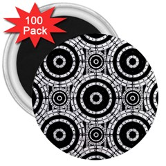 Geometric Black And White 3  Magnets (100 Pack) by linceazul