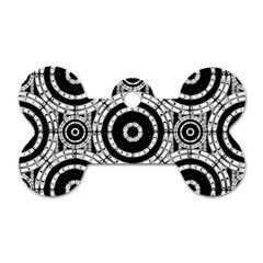Geometric Black And White Dog Tag Bone (two Sides) by linceazul