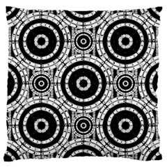 Geometric Black And White Large Cushion Case (two Sides) by linceazul