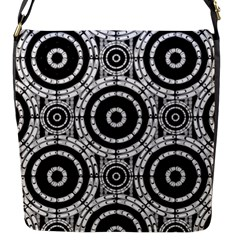 Geometric Black And White Flap Messenger Bag (s) by linceazul