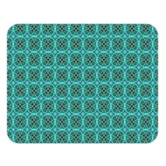 Turquoise Damask Pattern Double Sided Flano Blanket (large)  by linceazul