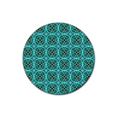 Turquoise Damask Pattern Rubber Round Coaster (4 Pack)  by linceazul