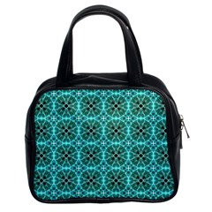 Turquoise Damask Pattern Classic Handbags (2 Sides) by linceazul