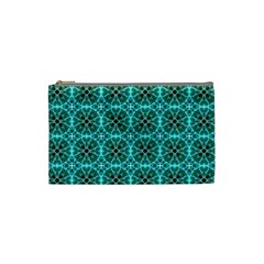 Turquoise Damask Pattern Cosmetic Bag (small)  by linceazul