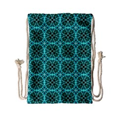 Turquoise Damask Pattern Drawstring Bag (small) by linceazul
