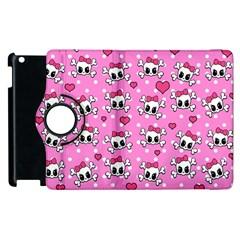 Cute Skulls  Apple Ipad 3/4 Flip 360 Case by Valentinaart