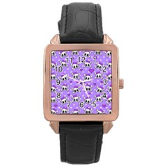 Cute Skulls  Rose Gold Leather Watch  by Valentinaart