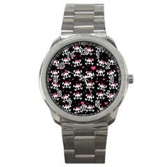 Cute Skulls  Sport Metal Watch by Valentinaart