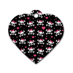 Cute Skulls  Dog Tag Heart (two Sides) by Valentinaart