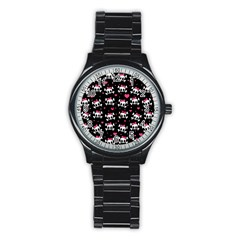 Cute Skulls  Stainless Steel Round Watch by Valentinaart