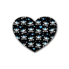 Cute Skulls  Rubber Coaster (heart)  by Valentinaart