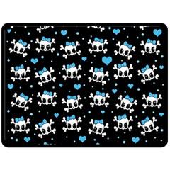 Cute Skulls  Fleece Blanket (large)  by Valentinaart