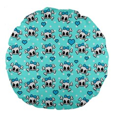 Cute Skull Large 18  Premium Flano Round Cushions by Valentinaart
