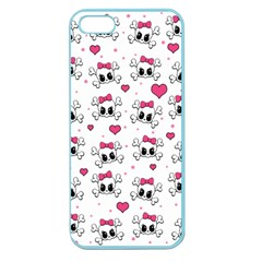Cute Skull Apple Seamless Iphone 5 Case (color) by Valentinaart