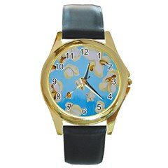 Air Popped Round Gold Metal Watch by dawnsiegler