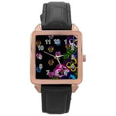 Floral Rhapsody Pt 1 Rose Gold Leather Watch  by dawnsiegler