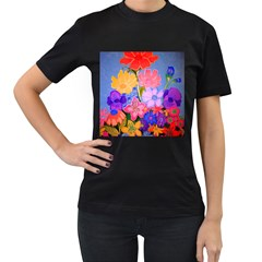 Spring Pastels Women s T Shirt (black) (two Sided) by dawnsiegler