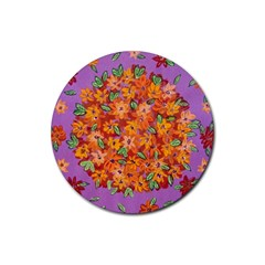Floral Sphere Rubber Round Coaster (4 Pack)  by dawnsiegler