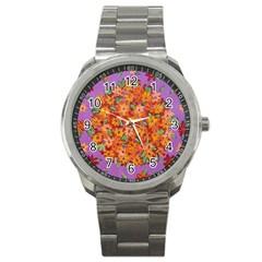 Floral Sphere Sport Metal Watch by dawnsiegler