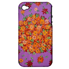 Floral Sphere Apple Iphone 4/4s Hardshell Case (pc+silicone) by dawnsiegler