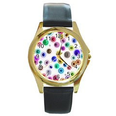 Colorful Concentric Circles              Round Gold Metal Watch by LalyLauraFLM
