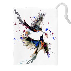 Colorful Love Birds Illustration With Splashes Of Paint Drawstring Pouches (xxl) by TastefulDesigns