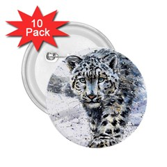 Snow Leopard 1 2 25  Buttons (10 Pack)  by kostart
