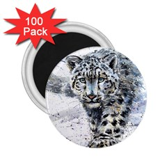Snow Leopard 1 2 25  Magnets (100 Pack)  by kostart