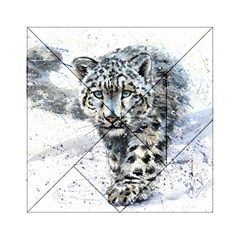 Snow Leopard 1 Acrylic Tangram Puzzle (6  X 6 ) by kostart