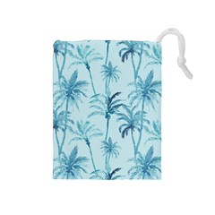 Watercolor Palms Pattern  Drawstring Pouches (medium)  by TastefulDesigns