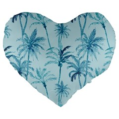 Watercolor Palms Pattern  Large 19  Premium Flano Heart Shape Cushions by TastefulDesigns