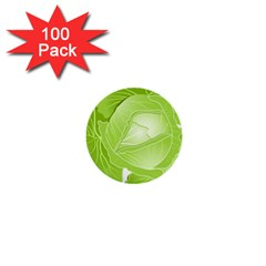 Cabbage Leaf Vegetable Green 1  Mini Buttons (100 Pack)  by Mariart