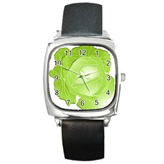 Cabbage Leaf Vegetable Green Square Metal Watch by Mariart