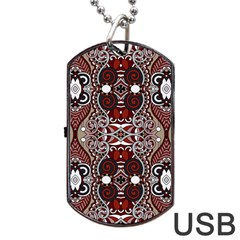 Batik Fabric Dog Tag Usb Flash (two Sides) by Mariart