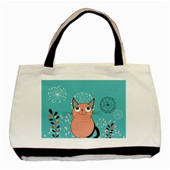 Cat Face Mask Smile Cute Leaf Flower Floral Basic Tote Bag (two Sides) by Mariart