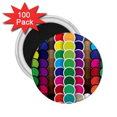 Circle Round Yellow Green Blue Purple Brown Orange Pink 2 25  Magnets (100 Pack)  by Mariart