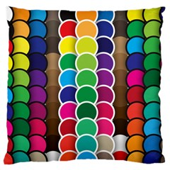 Circle Round Yellow Green Blue Purple Brown Orange Pink Large Flano Cushion Case (two Sides) by Mariart