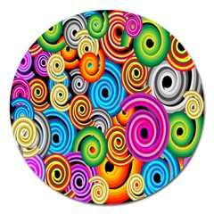 Circle Round Hole Rainbow Magnet 5  (round) by Mariart