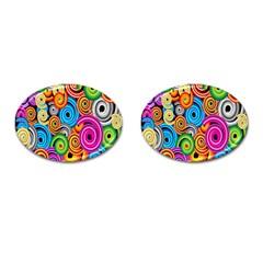 Circle Round Hole Rainbow Cufflinks (oval) by Mariart
