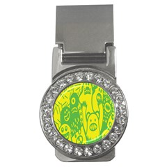 Easter Monster Sinister Happy Green Yellow Magic Rock Money Clips (cz)  by Mariart