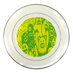 Easter Monster Sinister Happy Green Yellow Magic Rock Porcelain Plates by Mariart