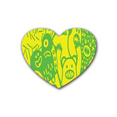 Easter Monster Sinister Happy Green Yellow Magic Rock Rubber Coaster (heart)  by Mariart