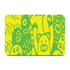 Easter Monster Sinister Happy Green Yellow Magic Rock Plate Mats by Mariart