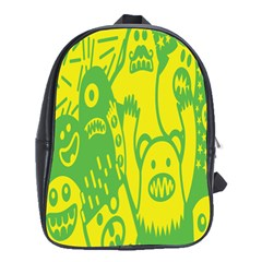 Easter Monster Sinister Happy Green Yellow Magic Rock School Bags (xl)  by Mariart
