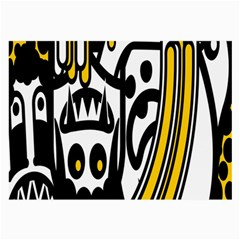 Easter Monster Sinister Happy Magic Rock Mask Face Polka Yellow Large Glasses Cloth (2 Side) by Mariart