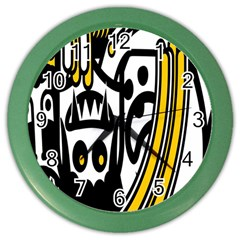 Easter Monster Sinister Happy Magic Rock Mask Face Polka Yellow Color Wall Clocks by Mariart