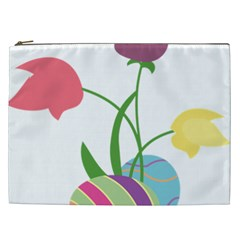 Eggs Three Tulips Flower Floral Rainbow Cosmetic Bag (xxl)  by Mariart